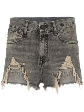R13 Shredded Slouch Denim Shorts - Black
