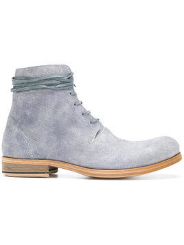 Individual Sentiments textured lace-up boots - Blue