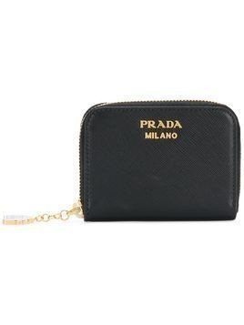 Prada top zip logo wallet - Black