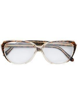 Yves Saint Laurent Pre-Owned striped frame glasses - Black