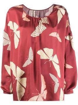 Forte Forte butterfly print blouse - Red