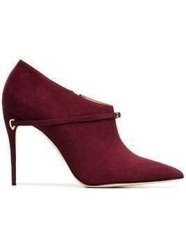 Jennifer Chamandi burgundy red fausto 105 snakeskin and suede leather boots