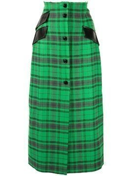 Yang Li plaid midi skirt - Green