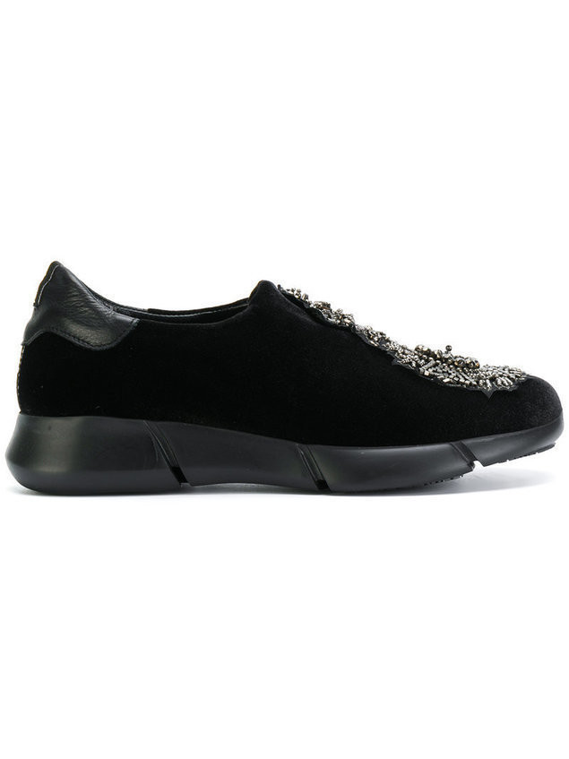 Strategia embellished slip-on sneakers - Black
