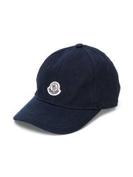 Moncler Kids logo-patch canvas baseball cap - Blue