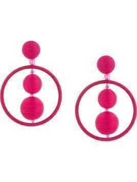 Oscar de la Renta Threaded Bead hoop earrings - Pink