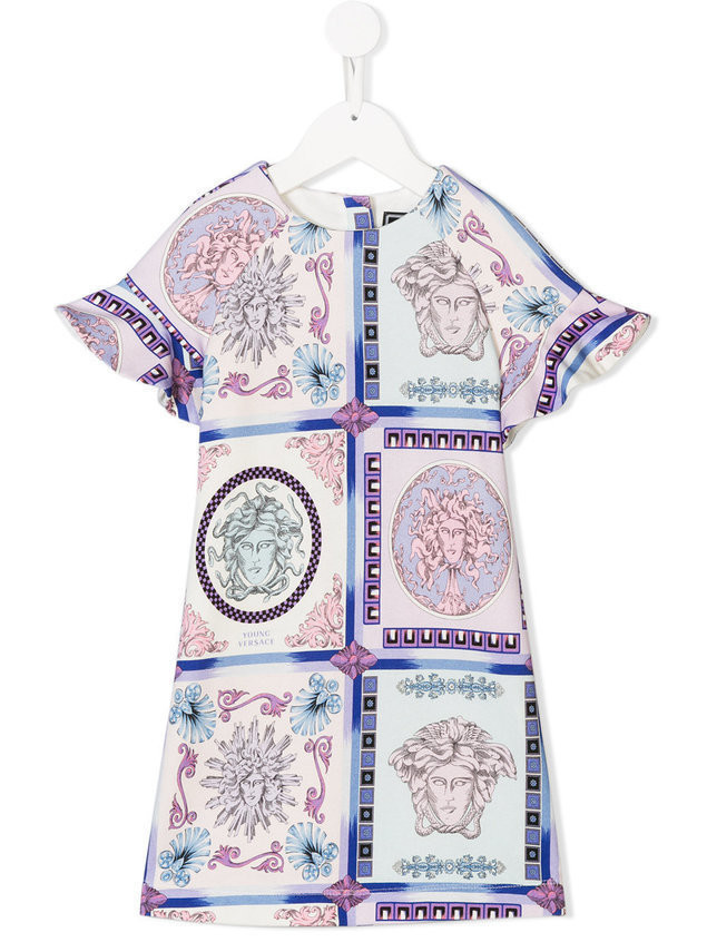 Young Versace short-sleeve printed dress - Pink & Purple