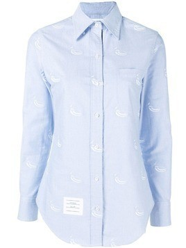 Thom Browne Light Blue Embroidery Point Collar Shirt
