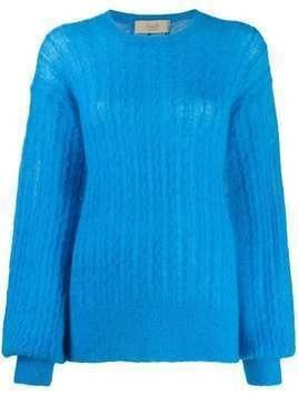 Maison Flaneur oversized cable-knit jumper - Blue