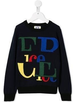 Iceberg Kids logo embroidered crew neck sweater - Blue