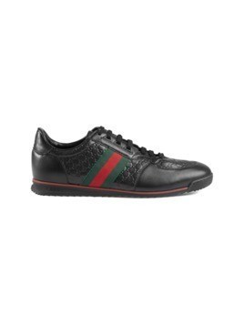 Gucci Leather sneakers with Web - Black