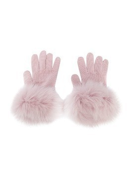 Catya Kids knitted contrast trim gloves - Pink