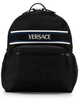 Versace logo patch backpack - Black