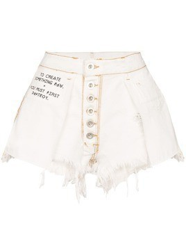 Unravel Project reverse raw denim shorts - White