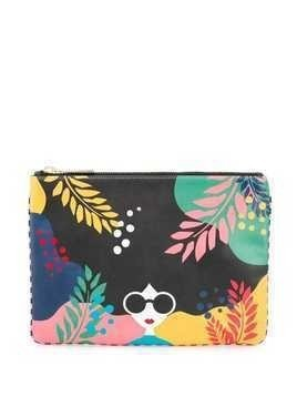 Alice+Olivia printed clutch - Black