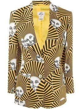 Fornasetti Pre-Owned 2000s striped muse print blazer - Yellow