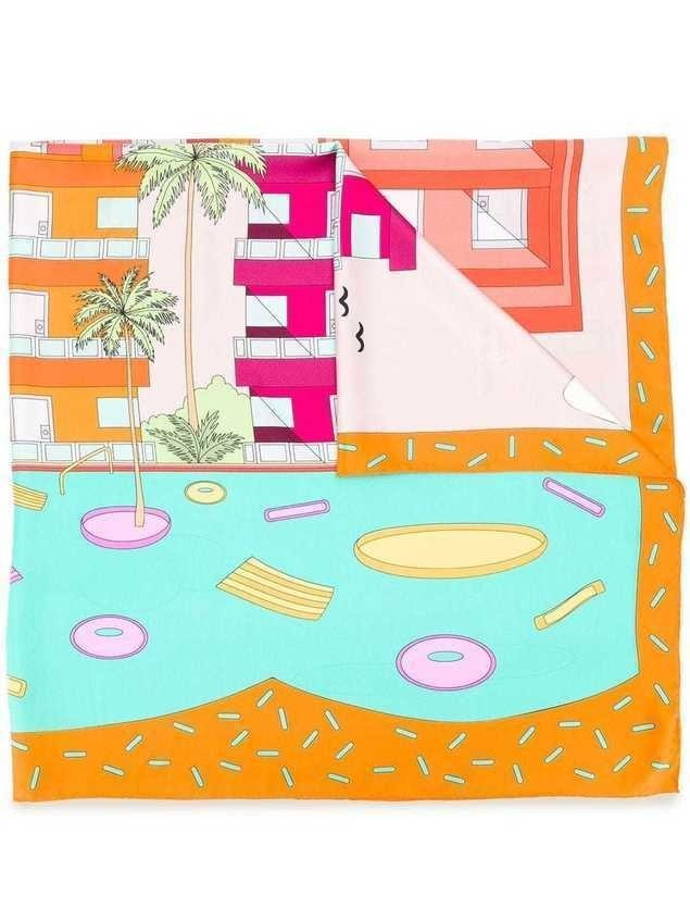 Cha•Val Milano Palm Springs print scarf - Orange