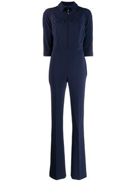 Elisabetta Franchi fitted 3/4 sleeves jumpsuit - Blue