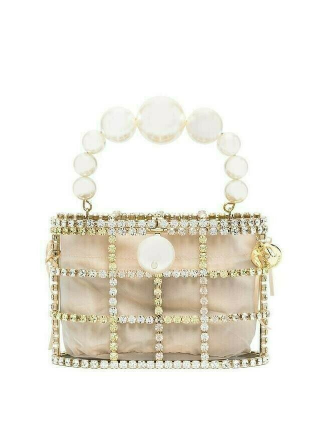 Rosantica Holli pearl and crystal clutch - GOLD