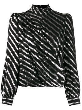 Michael Michael Kors diagonal striped blouse - Black