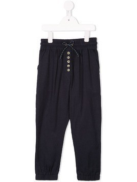 Velveteen ruched waistband twill trousers - Blue
