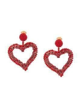 Oscar de la Renta heart clip earrings - Red