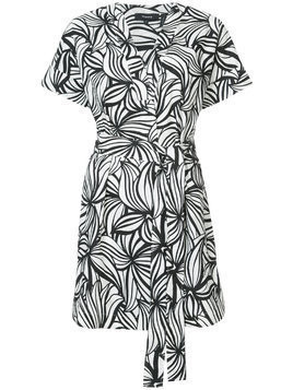 Theory printed wrap dress - White