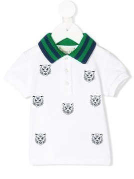 Gucci Kids roaring tiger embroidered polo shirt - White
