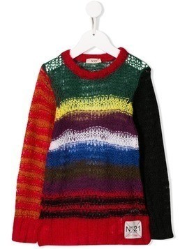 Nº21 Kids contrast striped jumper - Red