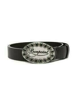 Bonpoint logo-buckle leather belt - Black