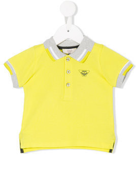 Armani Junior - contrast-trim polo shirt - Kinder - Cotton - 18 mth - Yellow & Orange