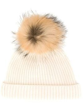 N.Peal detachable pompom ribbed hat - White