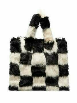 STAND STUDIO Lolita checker-pattern tote bag - Black