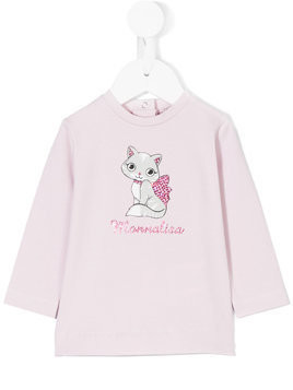Monnalisa cat printed blouse - Pink & Purple