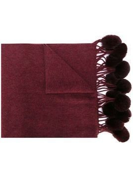 N.Peal Bobble woven scarf - Red