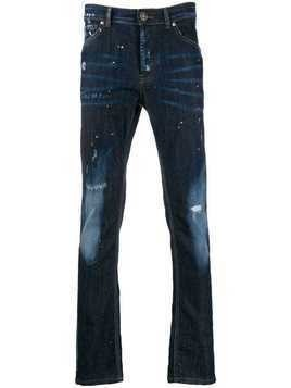 John Richmond distressed detail slim-fit jeans - Blue