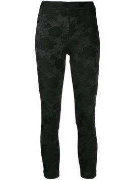Ann Demeulemeester cropped embroidered floral leggings - Black