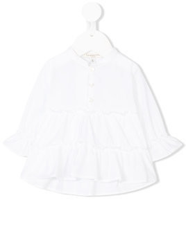 Cashmirino - ruffled blouse - Kinder - Cotton - 6 mth - White