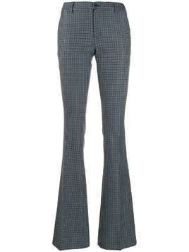 Pt01 check print flared trousers - Blue