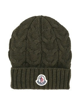 Moncler Kids cable knit beanie - Green