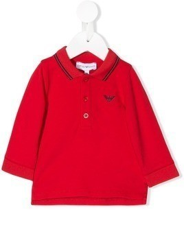 Emporio Armani Kids long sleeved polo shirt - Red