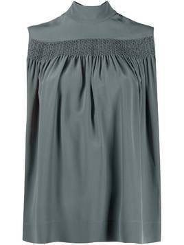 Rochas sleeveless smocked silk blouse - Blue