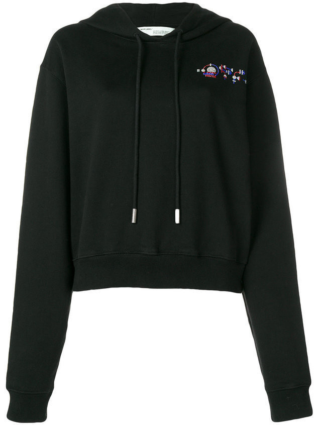 Off-White cropped jewel embellished hoodie - Black