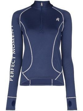 Perfect Moment half-zip logo thermal top - Blue