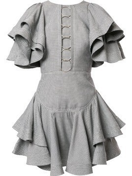 Acler Houndstooth ruffled mini dress - Grey