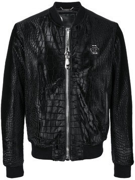 Philipp Plein croc-effect bomber jacket - Black