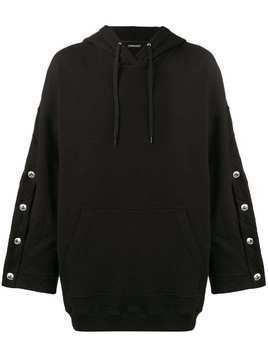 Y / Project Oversized Hoodie with Arm Button Fastening - Black