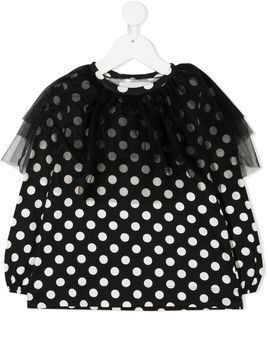 Touriste tulle polka dot sweatshirt - Black