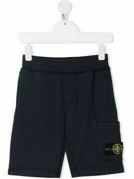 Stone Island Junior logo patch track shorts - Blue