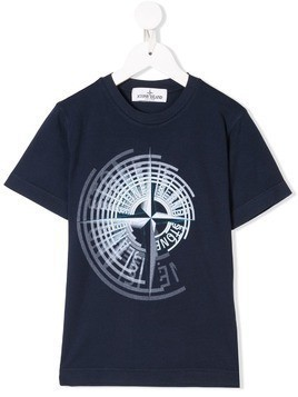 Stone Island Junior graphic logo print T-shirt - Blue